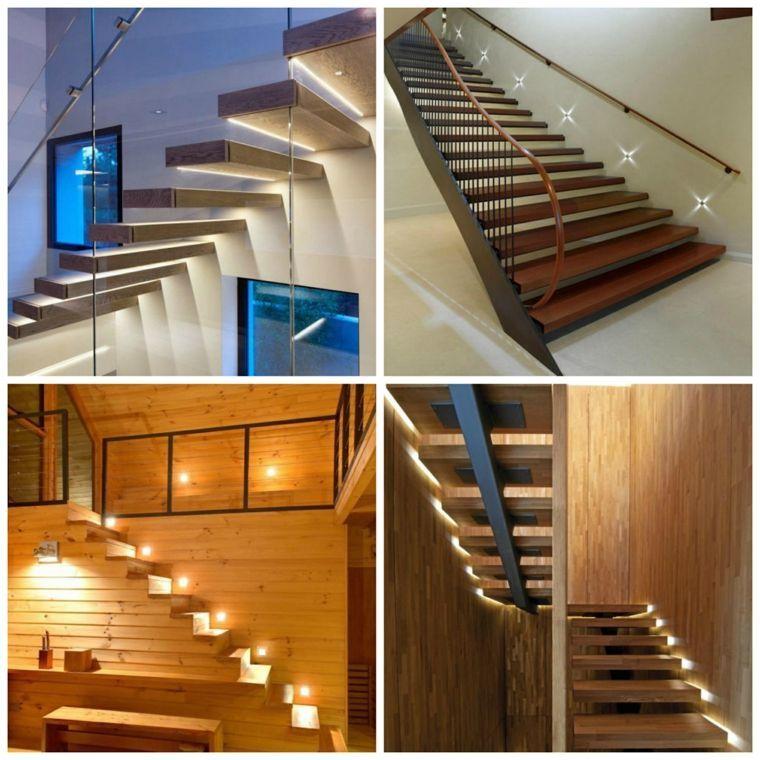 Escalier intérieur  quelques idées du0027éclairage moderne - fabriquer escalier exterieur bois