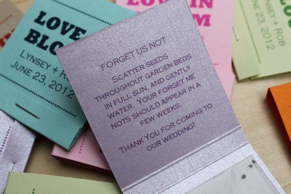 Forget Me Not Wedding Invitations: Forget Me Not Seed Matchbook Wedding Favor Set By