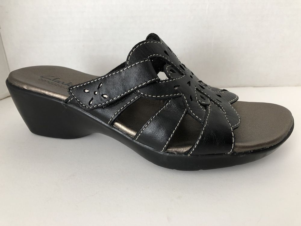 a9b703843dc Details about NEW Womens Clarks Baja Black Sandals Shoes 1 1/2 ...