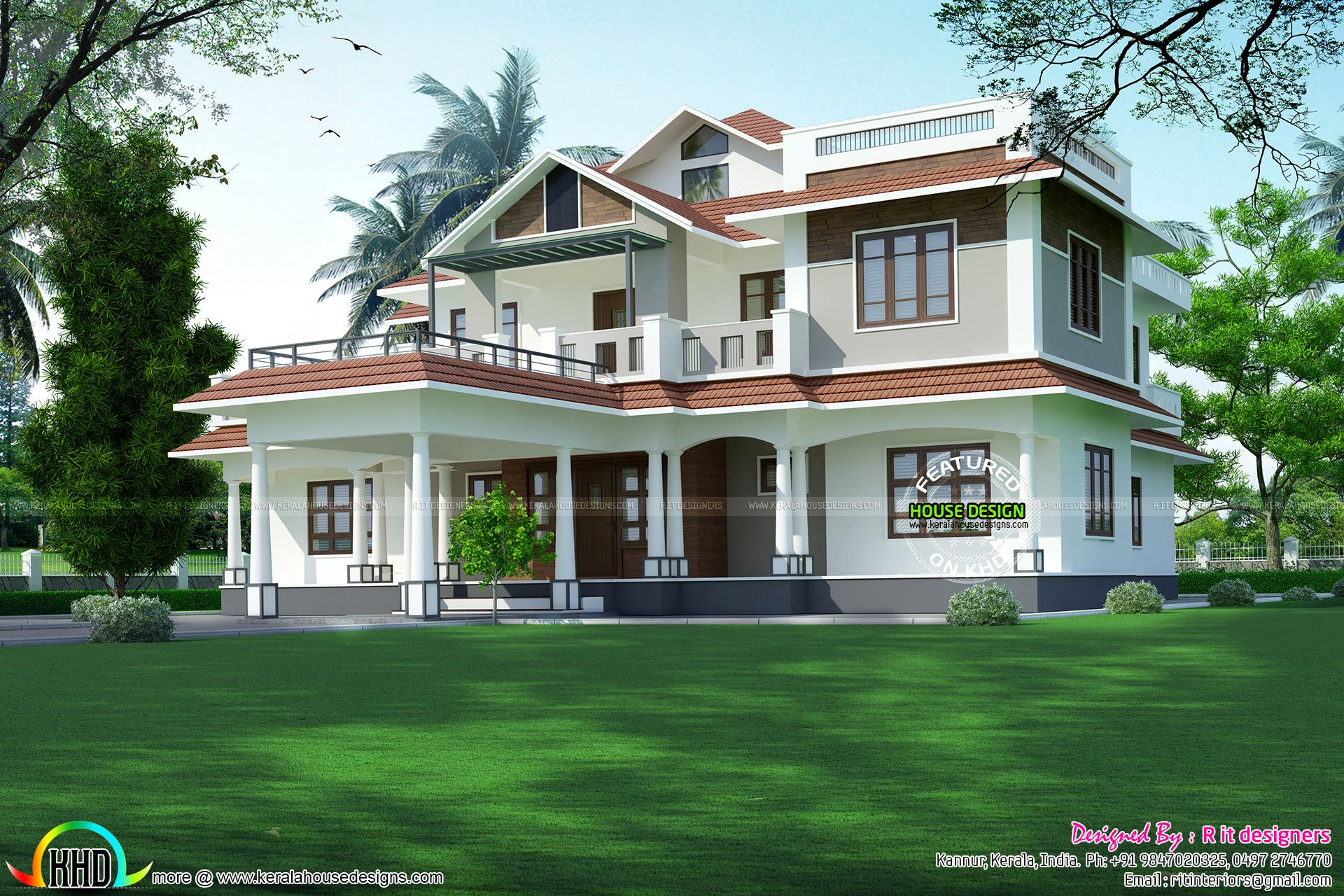 4354 Sq Ft 5 Bedroom Mixed Roof Home Architectural House Plans Modern Exterior House Designs Kerala House Design