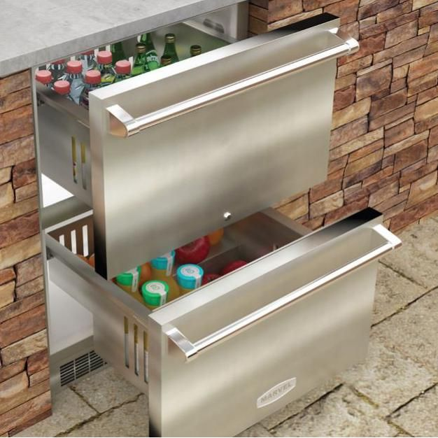 Marvel 24 Inch 6 08 Cu Ft Outdoor Rated Refrigerated Drawers Mo24rds3ns Outdoor Refrigerator Outdoor Kitchen Appliances Outdoor Kitchen