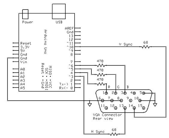 Turn Your Uno Into A Vga Output Device Mit Bildern Arduino