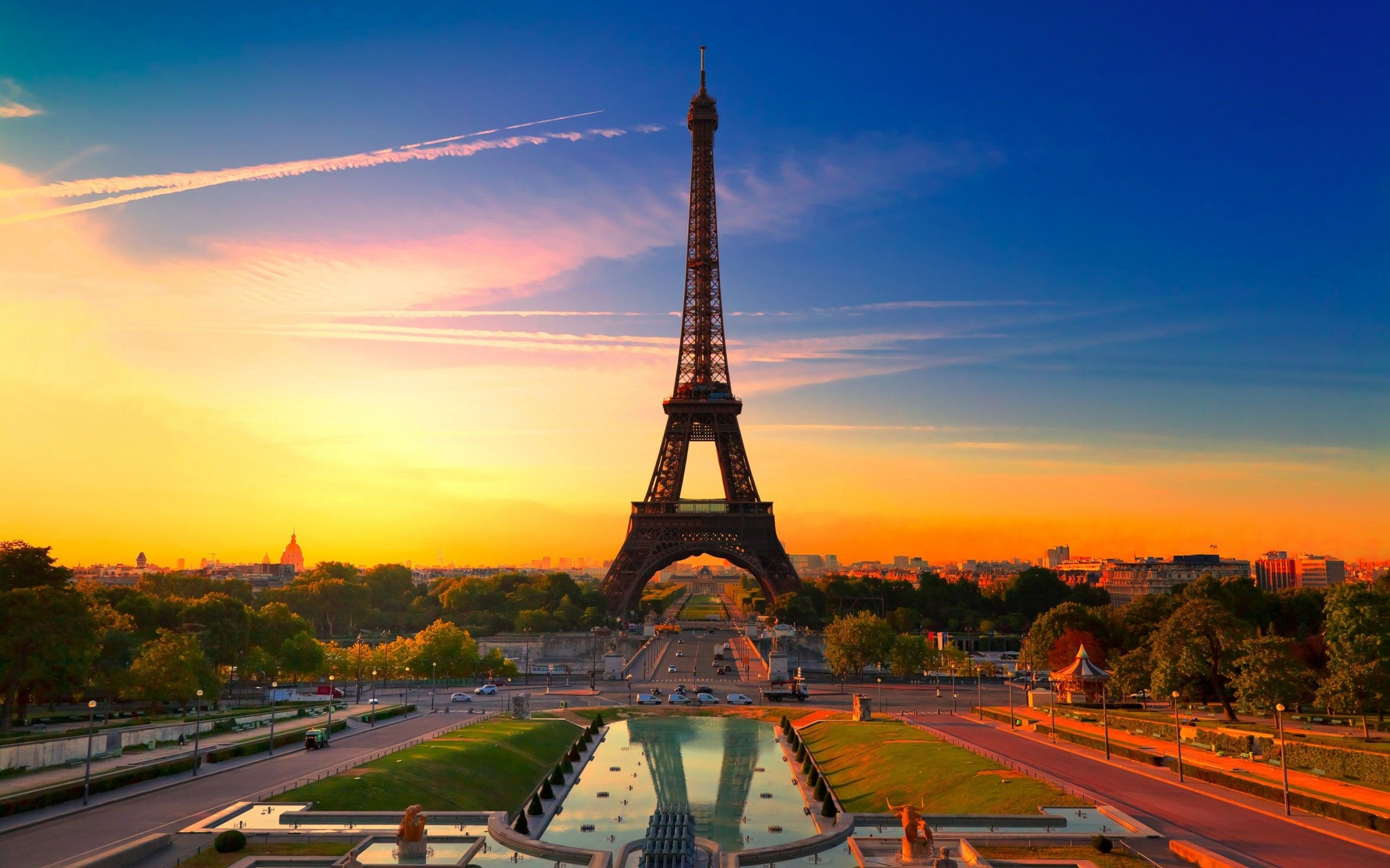 Обои для рабочего стола Эйфелева башня на закате, Париж ...