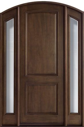 Cherry Solid Wood Front Entry Door Single With 2 Sidelites