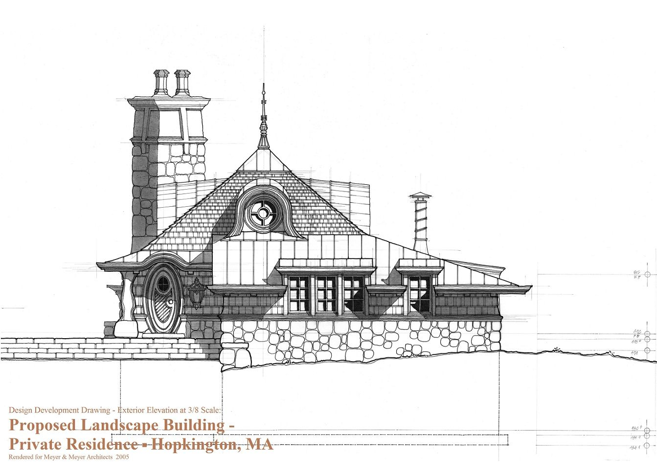 Design development elevation drawing for small cottage building in massachusetts rendered 3 8