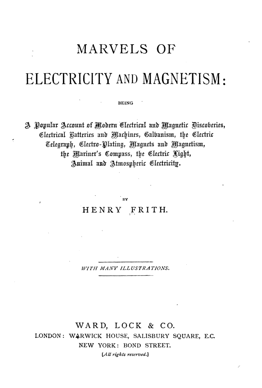 Marvels Of Electricity And Magnetism Being A Popular