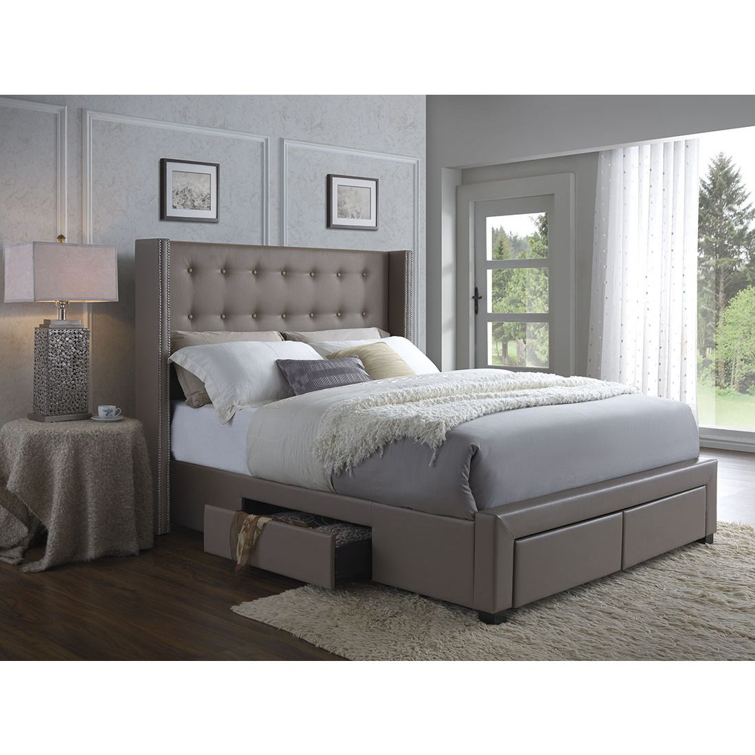 Victorian king storage beds with drawers - Dc Casa Melrose Walnut Faux Leather Wingback Storage Bed By Dg Casa