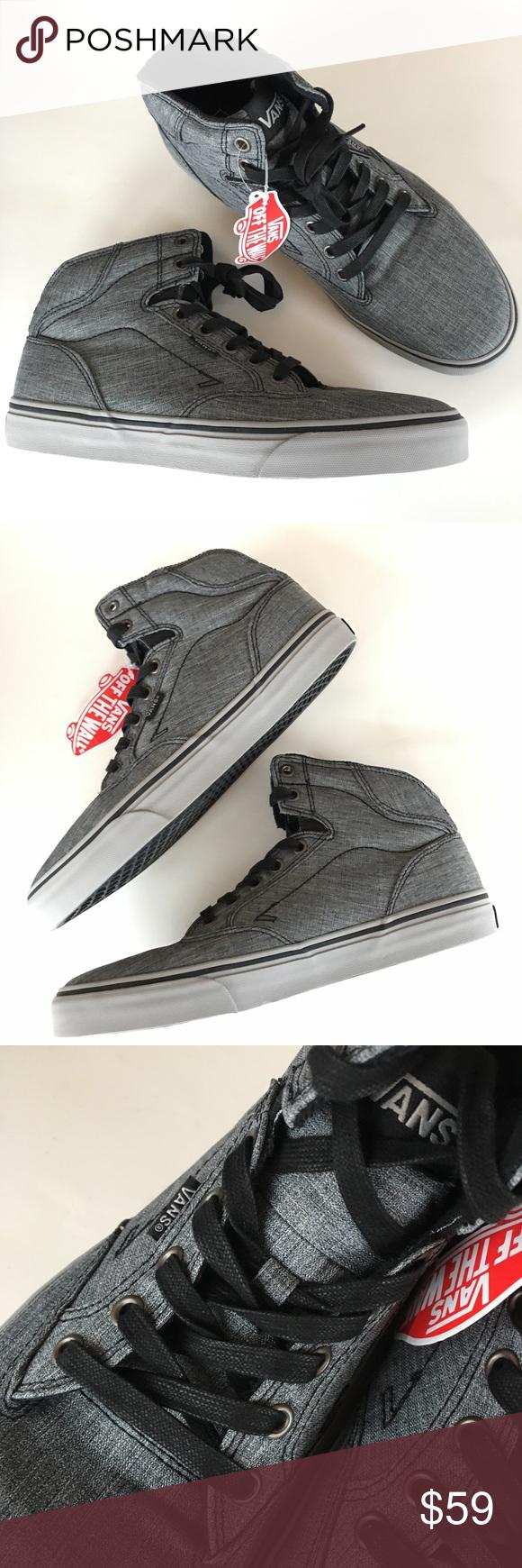 e70c89cfed4d NEW VANS high top off wall gray black sneakers men