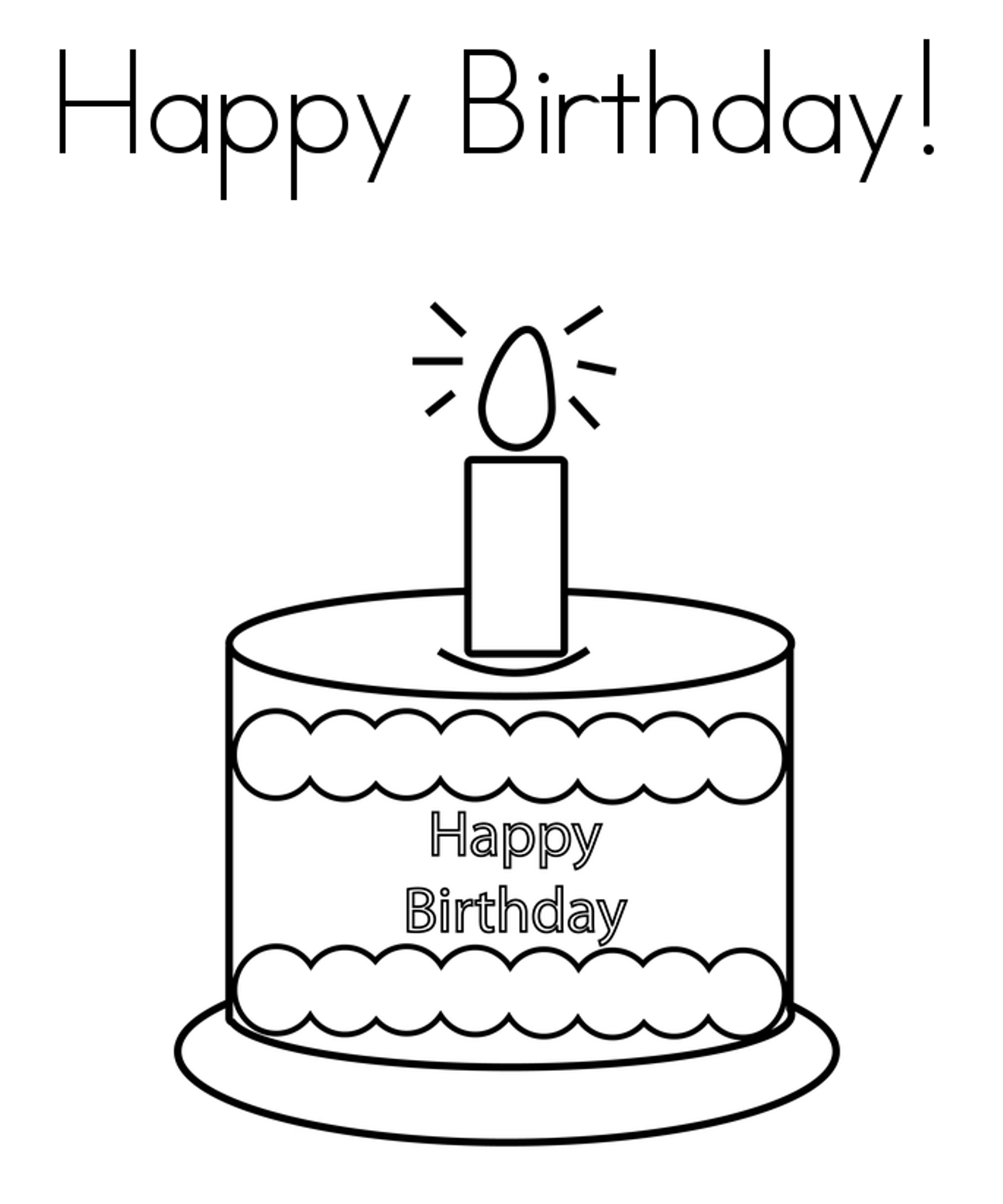 Coloring pages birthday cake - Happy Birthday Cake Coloring Page