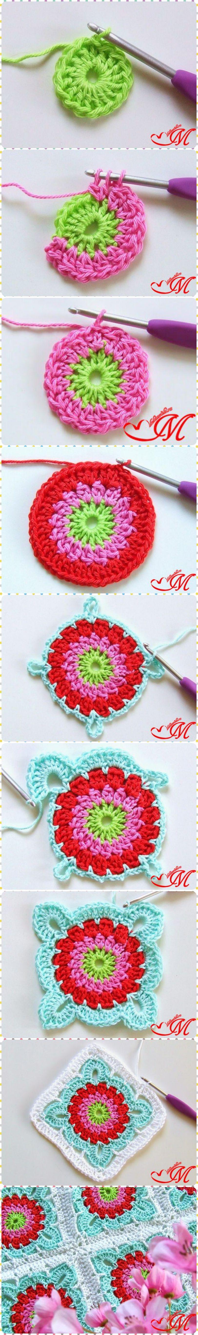 How to Crochet Granny Square Blanket | Como tejer, Colchas y Tejido
