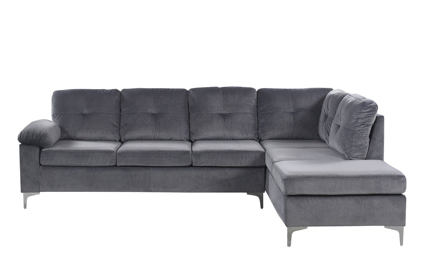 Helsinki Modern Tufted Brush Microfiber Sectional Sofa