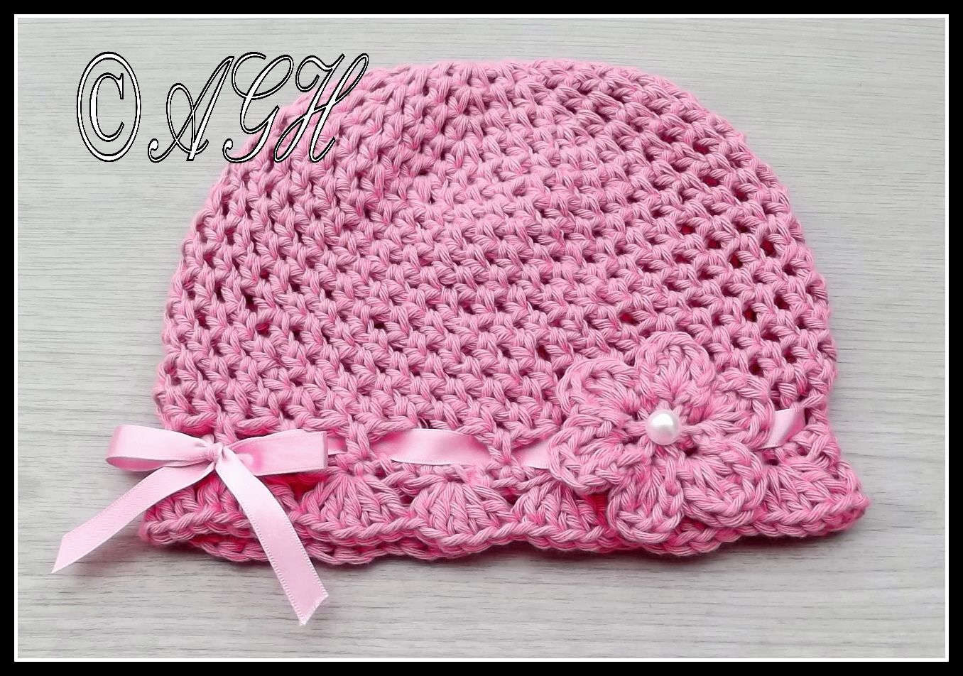 Simple baby girl hat with scallops pattern. | gorros y calcetines de ...