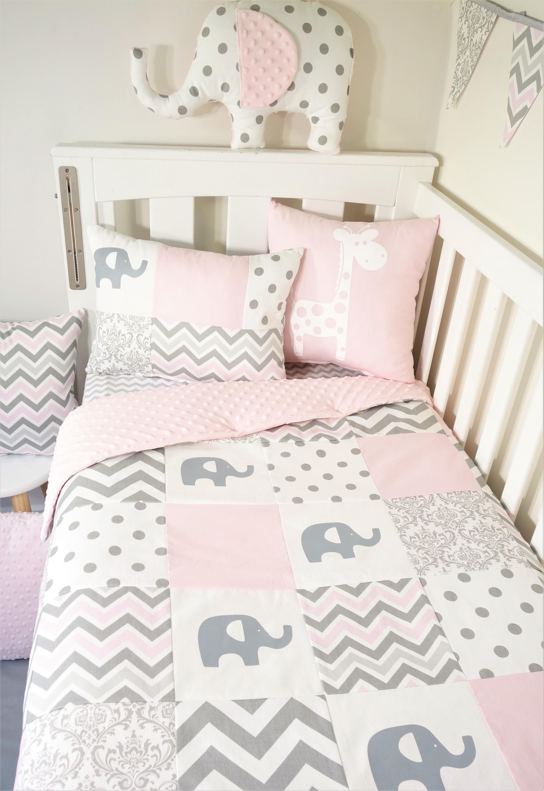 Patchwork quilt nursery set - Soft pink and grey elephants (Pink ...