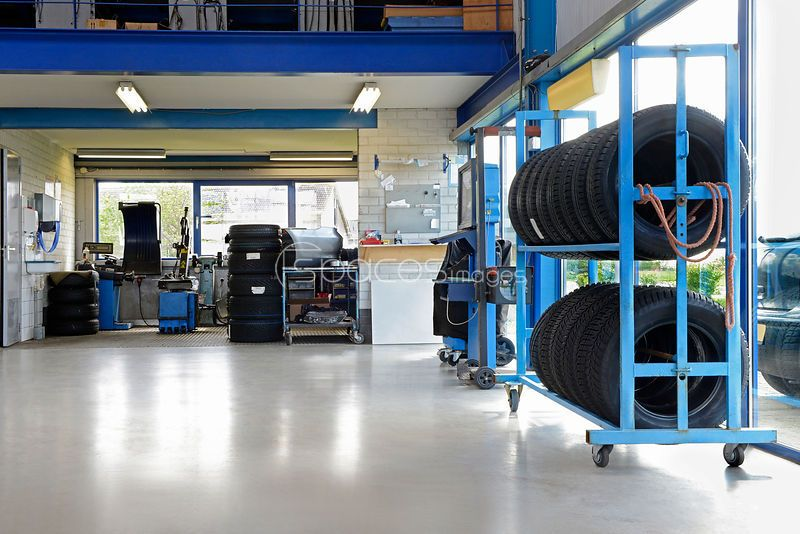Stock Photos A tidy car garage or repair shop. Stock