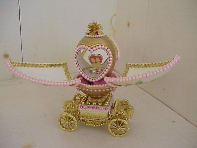 Collectible-Decorated-Real-Goose-Egg-Lovers-Cameo-Carriage-Wedding-Bridal-Gift