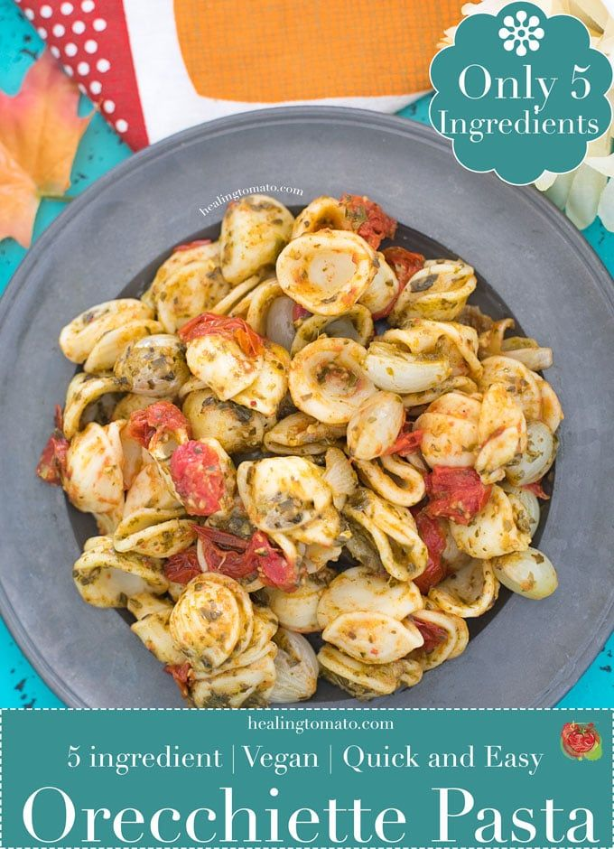 Vegan Orecchiette Pasta With Basil Pesto
