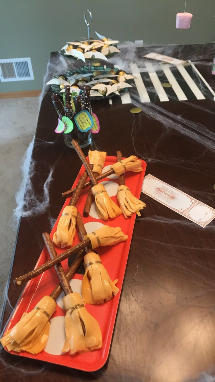Edible broomsticks done for a harry potter themed