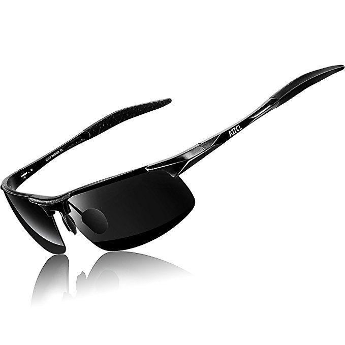 12c02de83af ATTCL® New Fashion Driving Polarized Sport Sunglasses Mens Unbreakable  Metal Frame 8177  Black
