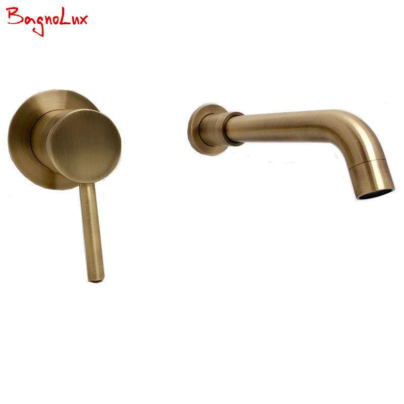 Aliexpress Com Buy High Quality Round 2 Hole Wall Sink Basin Mixer Tap Wels Bathroom Spout Faucet With Single Lever In Antique Green Brushed Bronze From R Wels