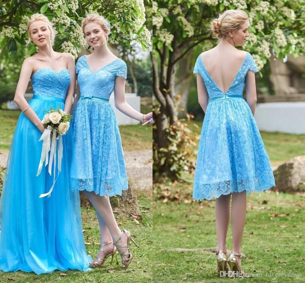 Two Kinds Bridesmaid Gown Lace Light Blue Elegant Cheap Price A ...
