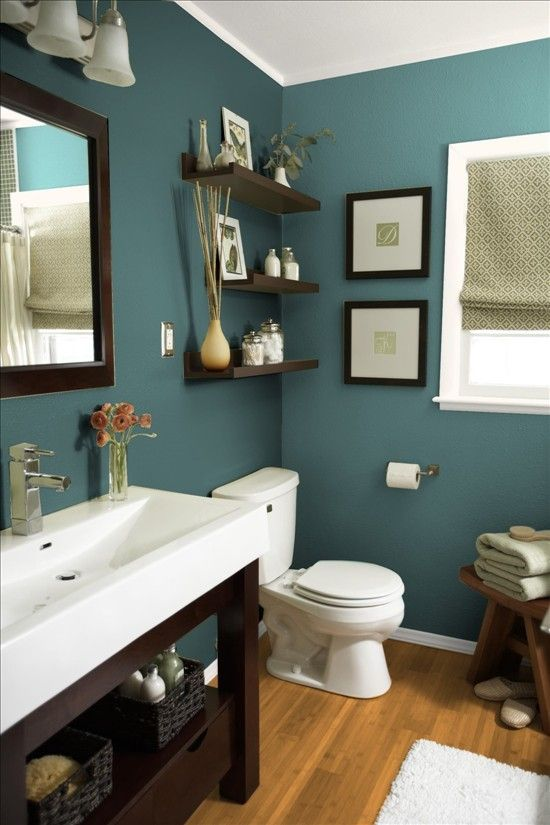 Love The Wall Color With White Sink And Dark Wood Accents