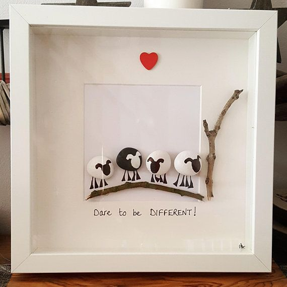 Handmade pebble art Dare to be DIFFERENT! picture. White box frame is 23cm square. Due to each picture being made from natural materials; pebble and twigs will vary slightly in each picture. Can personalised with names and dates. Just ask