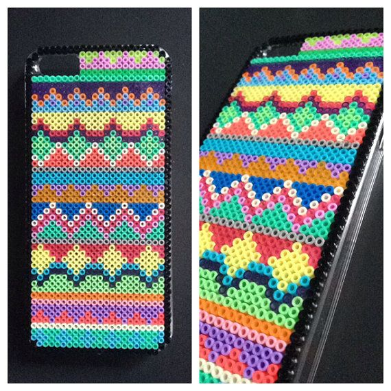 Hard case plastic cover decorated with mini hama beads for - Hama beads fundas ...