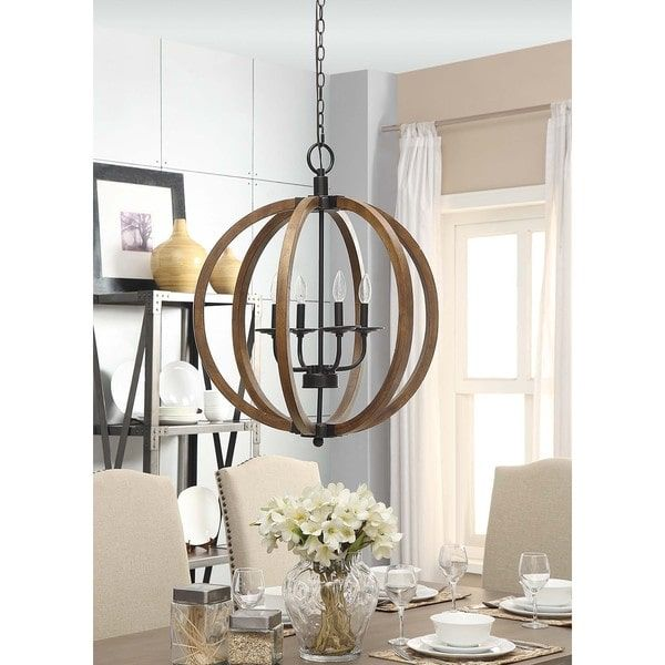 Neo Rustic Kitchen: Vineyard Distressed Mahogany And Bronze 4-light Orb