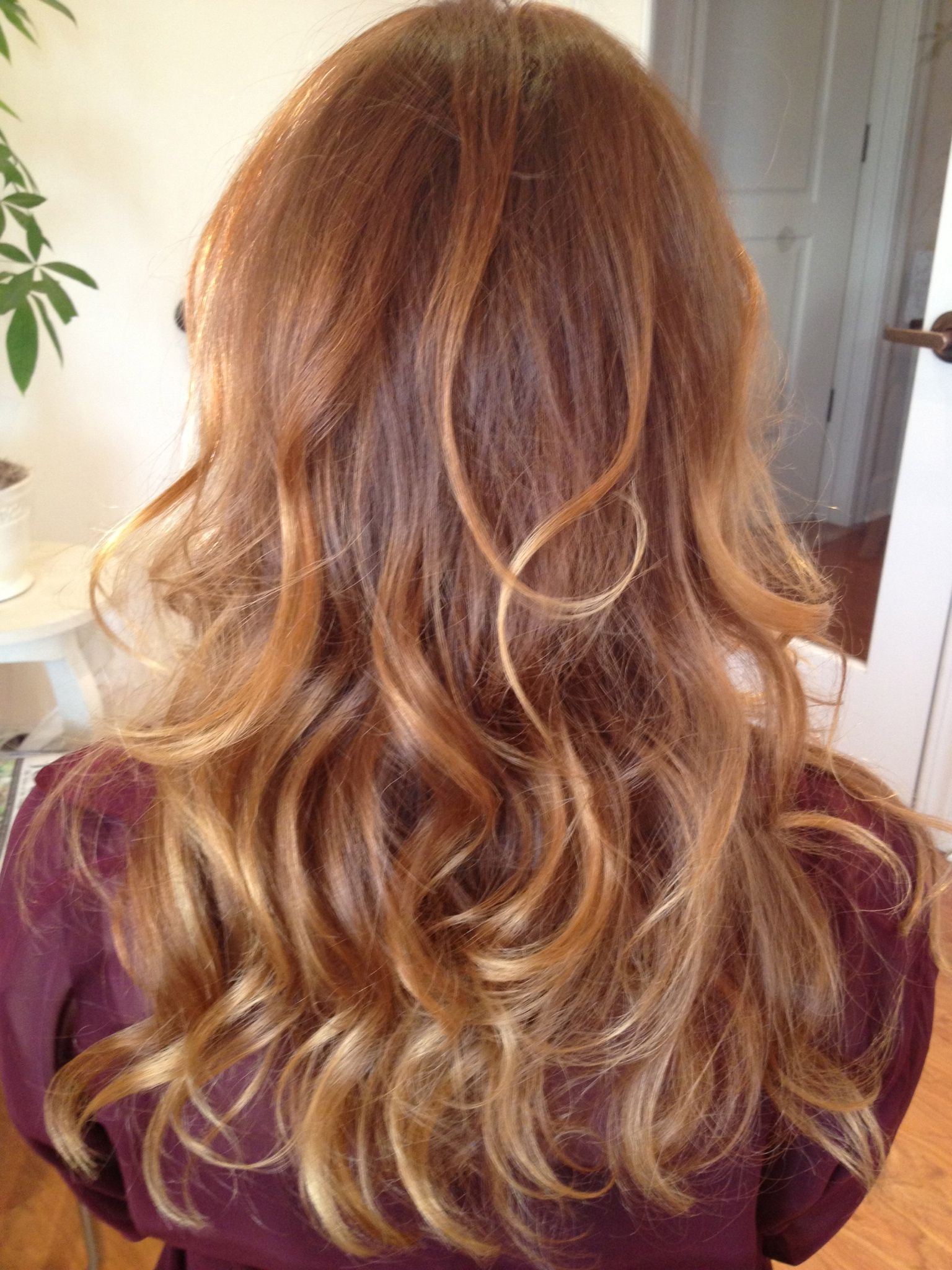 Kara Richard Beauty Brown Hair With Blonde Balayage Strawberry Blonde Strawberry Blonde Hair