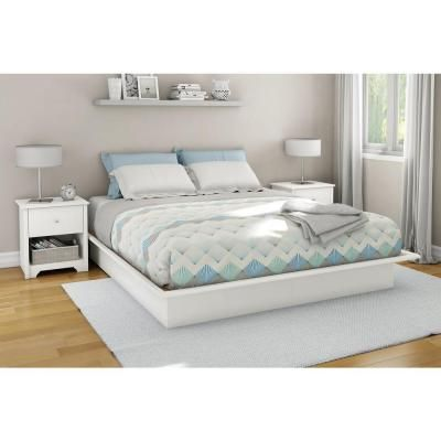 South Shore Step One Full Size Platform Bed In Pure White 3050234