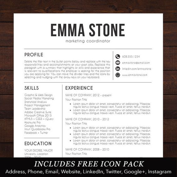 Resume Template CV Template for Word Mac by TheShineDesignStudio - resume templates word for mac