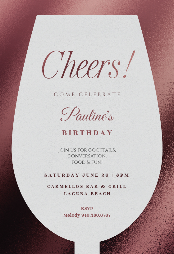 wine glass invitation template customize add text and photos