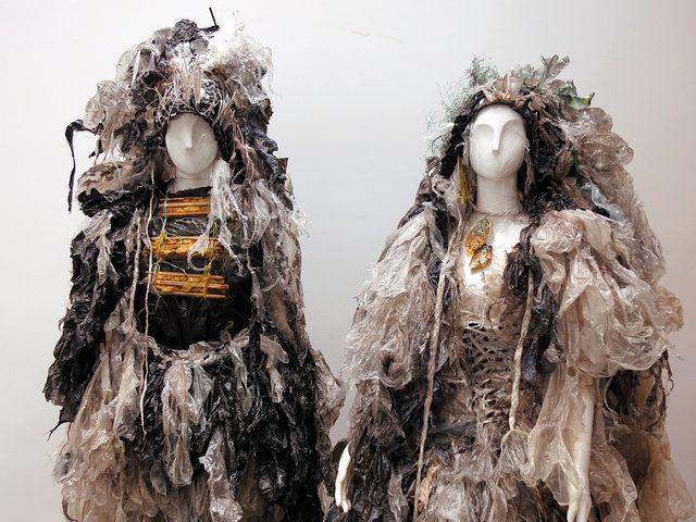 Entanglement - garments made of waste plastics by Nita Bowerman