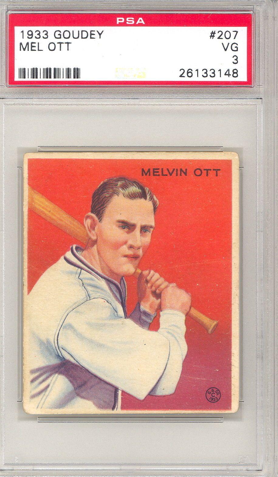 1933 Goudey Baseball Mel Ott Rookie Card 207 Psa 3 498a
