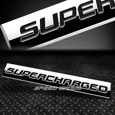 BUMPER STICKER METAL EMBLEM DECAL TRIM BADGE POLISHED BLACK TEXT SUPERCHARGED