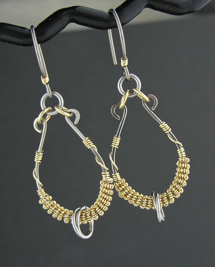 Mixed Metals Wire Wrapped Earrings, Gray Yellow Gold Earrings ...