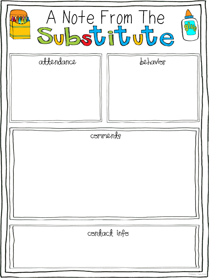 Free Substitute Teacher Report Template