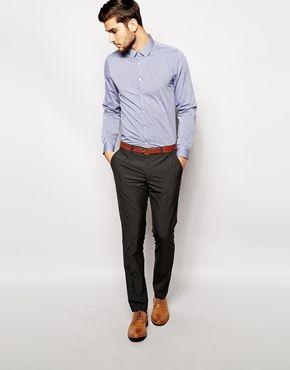 blue shirt, gray pants, brown shoes, brown belt :Enlarge ASOS Smart Shirt