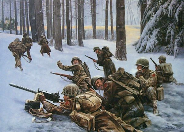 "The Desperate Hours By: Don Stivers - The last order they got before their communications were cut was to ""hold at all costs."" For two and a half days, Sgt. Lamoine ""Frank"" Olsen and his company held, without reinforcement or resupply, buying precious time against the surprise German offensive known as ""The Battle of the Bulge."""