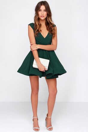 4be59f4fa3a Cute Forest Green Dress - Skater Dress - Structured Dress -  47.00