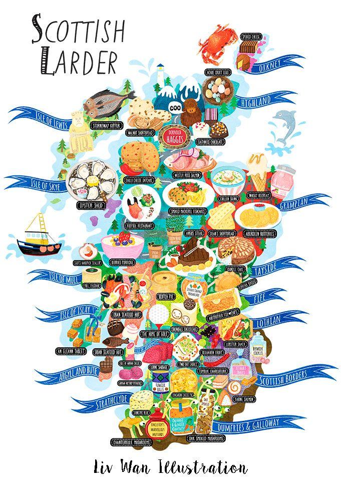 Scotland Food Map by Liv Wan Europe Pinterest