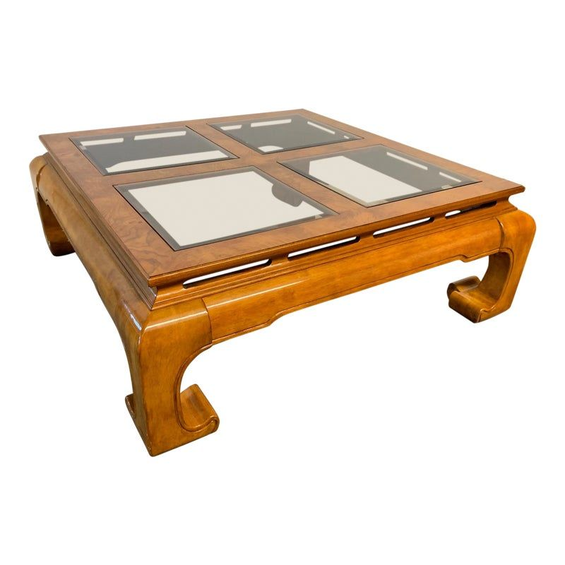 Ming Asian Chinoiserie Coffee Table Coffee End Tables Glass