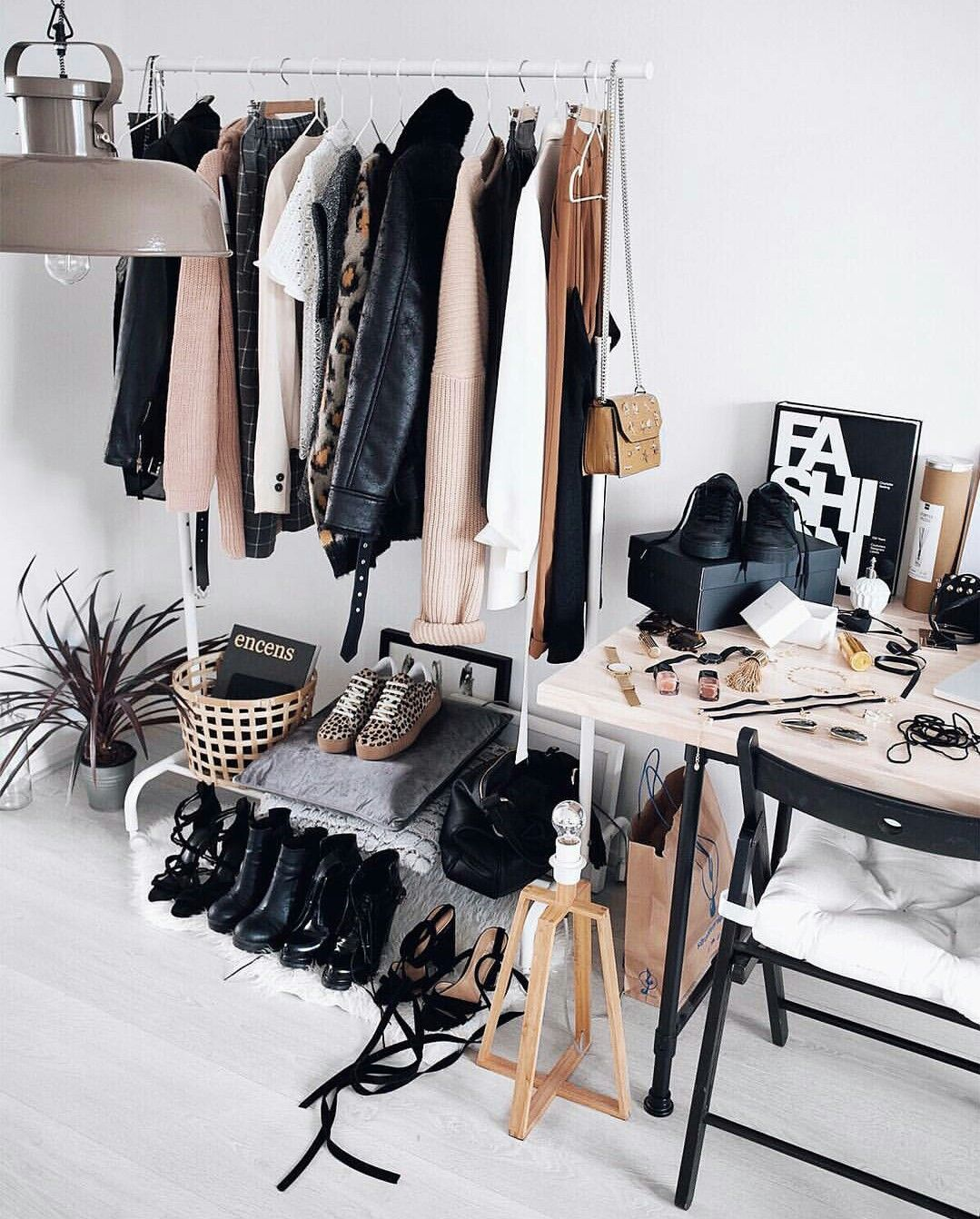 Desk In Closet With Clothes