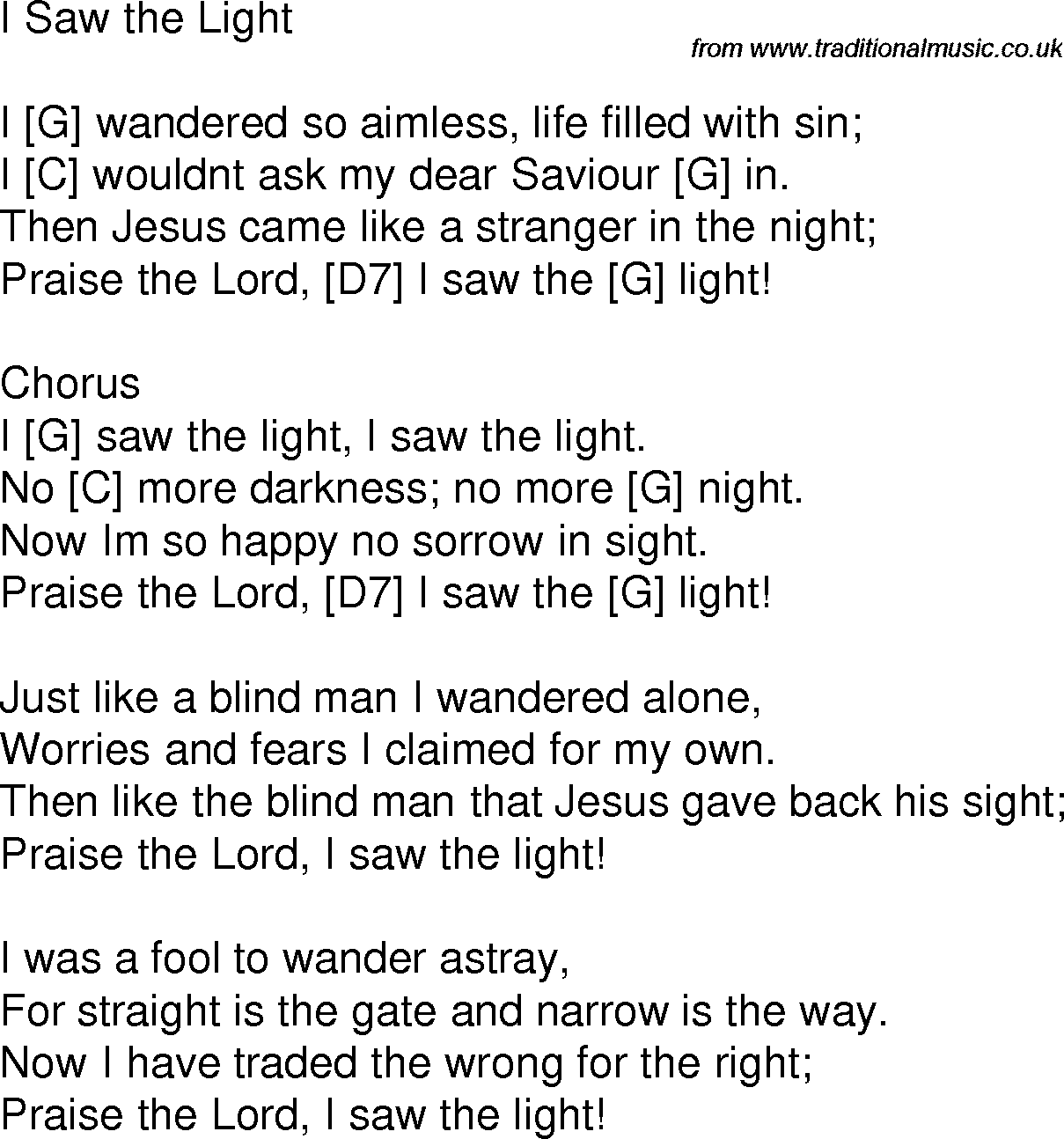 Old Time Song Lyrics With Chords For I Saw The Light G Guitar