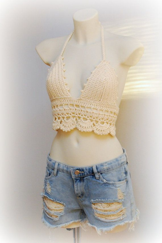 Beige halter top BIG SALE crochet crop top by SexyCrochetByOlga