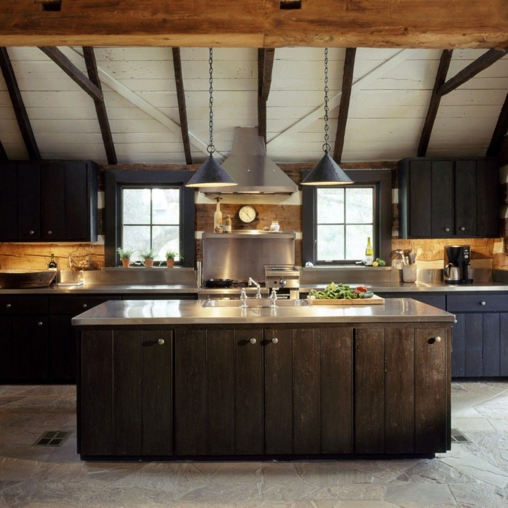 Kitchen Reclaimed Log Cabin Rustic Stainless Steel Countertops And Dark Distressed