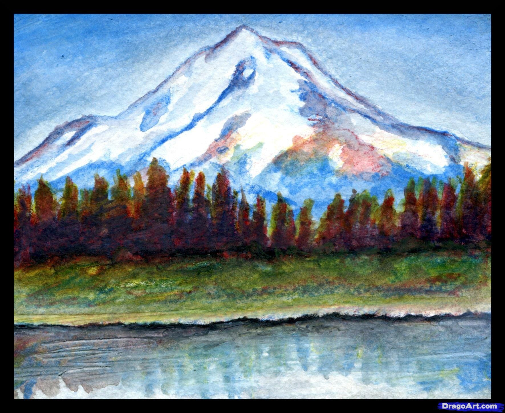 How To Draw A Realistic Landscape Draw Realistic Mountains By Finalprodigy Landscape Drawing Tutorial Colorful Landscape Mountain Drawing