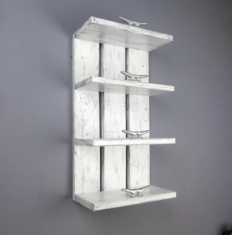 4 Tier White Wood Above Toilet Shelves Nautical Decor Open Shelving Wood Hotel Style Towel Rack Coastal Bathroom Shelves With Boat Cleats In 2020 Toilet Shelves Nautical Bathroom Decor Nautical Shelves