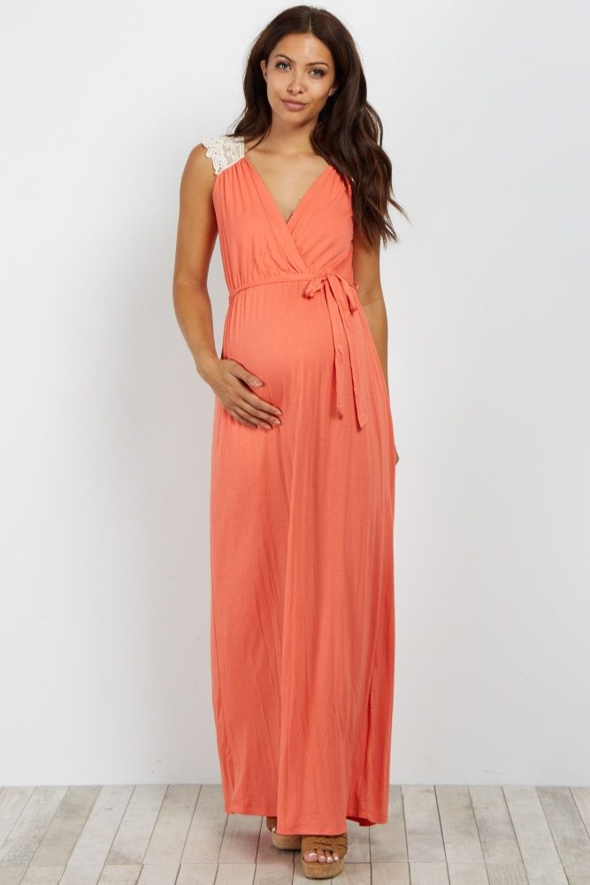 9d8cb82a71676 Coral Crochet Back Maternity/Nursing Maxi Dress. Love the style and that it  looks like it could be worn long after pregnancy.