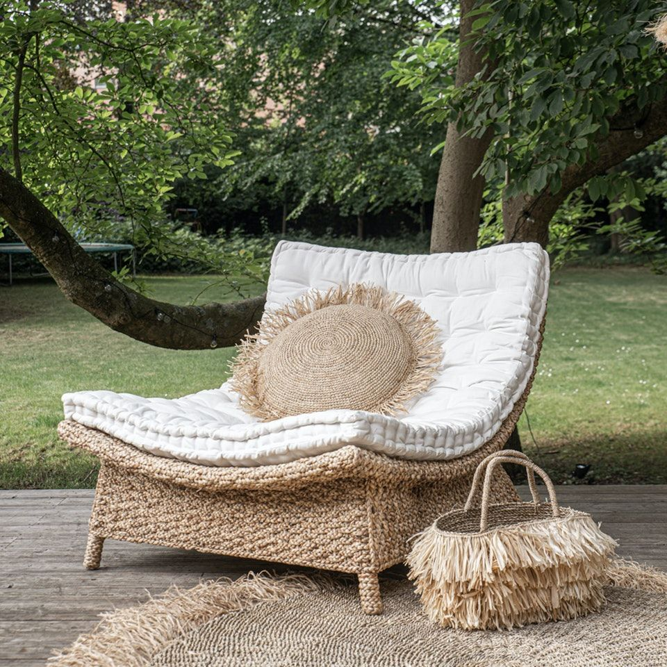Round Cushion Natural Raffia In 2020 Beach House Furniture Patio Lounge Chairs Outside Furniture